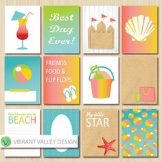 BEACH Journaling Cards, Project Life Inspired Printable JPEG, Simple Stories, Digital Scrapbooking, Instant Download, Beach, Summer, sand