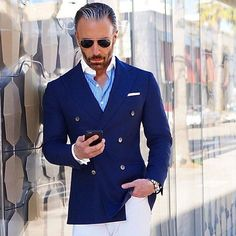 DB Jacket  White Pants  Banker Collar Shirt. Checkout @stylishmanmag by sophisticatedsir