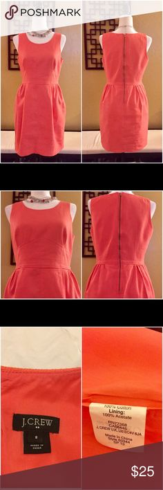 J. Crew Dress J. Crew Dress Size: 8    Color: Coral Lined dress, pleaded with pockets on the side. Shoulder strap to hem is about 35 inches long. Good condition. Needs to be dry cleaned. 100% Cotton with Lining: 100% acetate. J. Crew Dresses