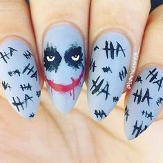 Joker nails More nail art designs 2019 nail designs for short nails 2019 holiday nail stickers nail art stickers walmart nail art stickers online Halloween Nail Designs, Halloween Nail Art, Scary Halloween, Halloween Ideias, Toe Nail Color, Nail Colors, Maquillage Harley Quinn, Coffin Nails, Acrylic Nails