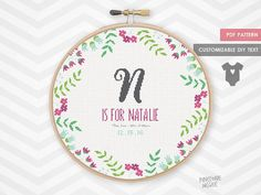 JUNGLE PRETTY BABY announcement counted cross stitch pattern new baby girl sampler easy modern shower gift personalized embroidery record by PineconeMcGee