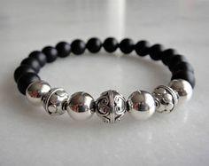 90db4e8151aa Items similar to Mens silver bracelet with matt black onyx beads - mens  gift on Etsy. Bisuteria PulserasBrazaletes ...