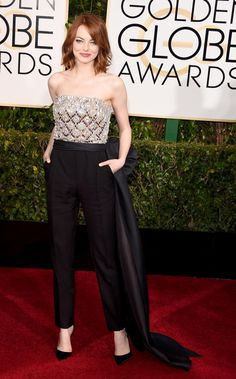 "Emma Stone can do no wrong in this Lanvin jumpsuit as she arrived to the 2015 Golden Globes for her nomination in ""Birdman."""