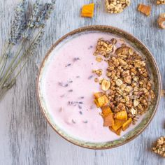 A crunchy, nutty granola baked in lavender-infused maple syrup and tossed with sweet mango pieces. #food #fruit #granola