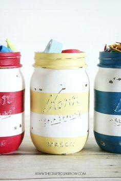 DIY: striped mason jars