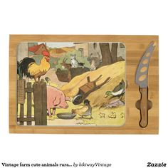 Vintage farm cute animals rural life illustration cheese platter