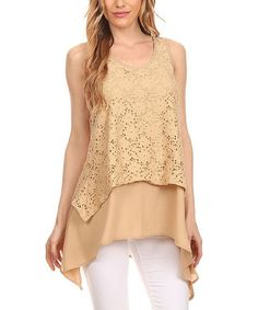 Another great find on #zulily! Beige Crochet Layered Sidetail Top - Plus #zulilyfinds