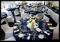 Navy blue wedding decorations navy blue and white wedding decorations tedxgastownwomencom Blue And White Wedding Themes, Grey Wedding Decor, Silver Wedding Decorations, Wedding Table, Wedding Colors, Wedding White, Wedding Ideas, Navy Silver Wedding, Table Decorations