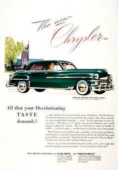 1949 Chrysler Windsor Sedan vintage ad. Drive smoothly - effortlessly with Fluid Drive and Presto-Matic transmission.