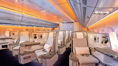 Inside the Business Class cabin, where atmospheric lighting mimics the time of day to help passengers adjust