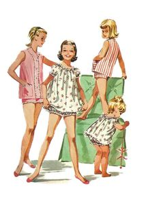 Vintage 1950s McCalls 3595 Girls Shortie Nightgown and Baby Doll Pajamas Pattern Size 8 Breast 26