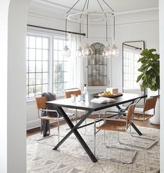 Rose City multi-drop chandelier perfect for dining rooms, entryways, and living spaces with schoolhouse shades from Rejuvenation.