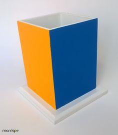 Porta-lápis colorido cubo mágico #artesanato #decor #mdf #madeira #organização #decoração #pap #diy #papelaria #lapis #portalapis #marrispe
