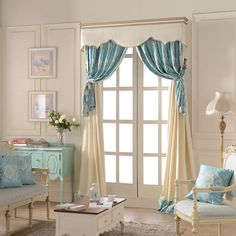 French doors window treatment ~ Stitching Section European Luxury Curtain