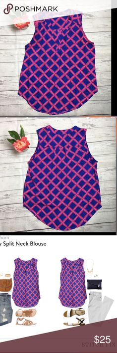 "41HAWTHORN Pink Blue Shalley Split Neck Blouse 41 Hathorne / Stitch Fix Size Medium  Hot pink & royal blue trellis print sleeveless ""Shalley"" blouse with split neckline detail.   Measurements, laying flat: Armpit to armpit: 21"" Length shoulder to hem: 22"" however longer in the center of the blouse. 41Hawthorn Tops Blouses"