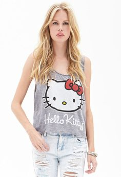 This heathered knit muscle tee features a Hello Kitty™ graphic. Finished with raw cut edges, pair this adorable top with boyfriend jeans and sneakers for any casual day.  http://foxyblu.com/details/134498