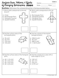 surface area and volume quiz pdf