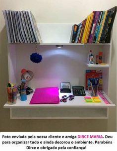 Mesa Notebook Suspensa De Parede De Estudos Canadá + Brinde Study Areas, Study Desk, Wardrobe Design, Home Office Design, Desk Organization, Mesa Notebook, My Room, Corner Desk, Bookcase