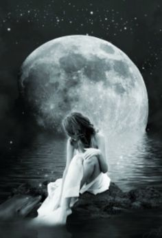 woman under the moon