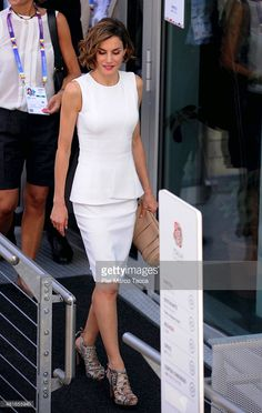 Queen Letizia of Spain leaves the Italian pavilion at the Expo 2015 on July 23, 2015 in Milan, Italy.