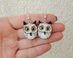 Eagle owls earrings, women's men's jewelry, handmade owl of clay, owl totem, owl amulet talisman, owl jewelry, owl night Birds,owl figurine