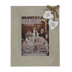 Love Story Wooden Frame With Hearts Mr. And Mrs. 5x7