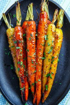 Maple Dijon Roasted Carrots --- (Personally, the thought of using maple syrup does not appeal to me at all