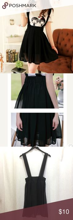 """Black suspender skirt size S Chiffon suspender skirt. Has satin liner. There's stitch coming loose at the back strap. See the last photo. Waist-25"""" Length-21"""" Suspender length-13.5"""" Not Zara, it's for exposure. Zara Skirts Mini"""