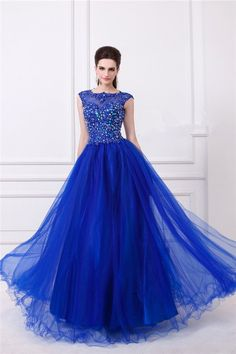 A Line Sheer Illusion Neckline Backless Long Royal Blue Tulle Beaded Prom Dress