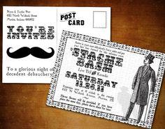 Stache Bash Mustache Party Invitation Postcard with Printable DIY Option. $0.75, via Etsy.