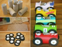 Cars made from toilet paper rolls. Recycling fun rainy afternoon with the kids!