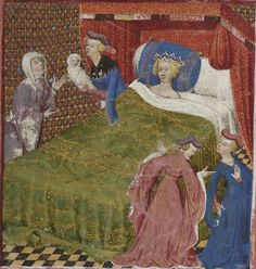 Français 117 fol c France Medieval Bed, Medieval Times, Lancelot And Guinevere, Renaissance, Good Knight, Medieval Paintings, Book Of Hours, Medieval Fashion, 14th Century