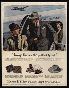 1947 STETSON Hats - American Airlines - Stewardess Airplane - Jealous VINTAGE AD