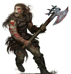 Orc Barbarian - Pathfinder PFRPG DND D&D d20 fantasy