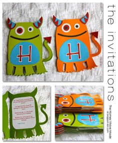 monster party baby boy birthday theme - Monster Party Invitations