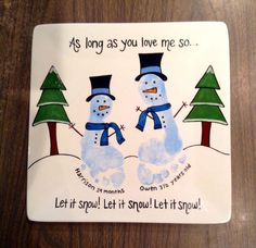 """Let It Snow"" Footprint Snowman Plate #colormemineboulder #christmas #winter"