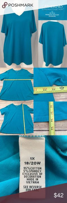 🌴Sz 1X Catherine's Blue V-Neck Short Sleeve Top Measurements are in photos. Normal wash wear, no flaws. C3/36  I do not comment to my buyers after purchases, due to their privacy. If you would like any reassurance after your purchase that I did receive your order, please feel free to comment on the listing and I will promptly respond.   I ship everyday and I always package safely. Thank you for shopping my closet! Catherines Tops