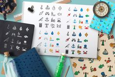 Sea Icons and Patterns Set contains 16 vector sea and fisherman icons in different 5 views and 3 seamless patterns: only lines, lines with uniform filling, silhouettes style and flat.