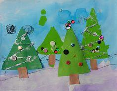 Scribble Art Studio #christmas #tree #buttons #glitter #paint