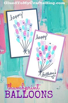 diy birthday cards for kids Thumbprint Birthday Balloons Card Idea For Kids To Make Creative Birthday Cards, Homemade Birthday Cards, Happy Birthday Cards, Birthday Card For Grandma, Birthday Cards From Kids, 90th Birthday, Kids Birthday Crafts, Handmade Birthday Gifts, Birthday Quotes