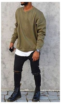 Hipster Outfits Men, Swag Outfits Men, Stylish Men, Men Casual, Denim Shirt With Jeans, Denim Shirts, Ripped Denim, Classy Men, Boy Fashion