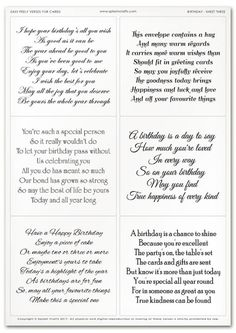 Best 11 Easy Peely Verses for Cards – Birthday Sheet 3 Birthday Verses For Friends, Birthday Verses For Daughter, Funny Birthday Poems, Birthday Verses For Cards, Birthday Card Messages, Birthday Card Sayings, Birthday Sentiments, Birthday Cards For Women, Birthday Quotes