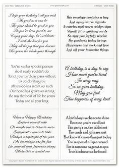 Easy Peely Verses for Cards - Birthday Sheet 3