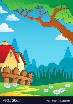 Spring theme landscape 3 vector image on VectorStock Art Drawings For Kids, Drawing For Kids, Murals For Kids, Art For Kids, Cartoon Background, Background Images, School Border, Flower Iphone Wallpaper, Poster Design Layout