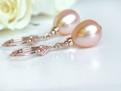Blush Pink Drop Pearl Earrings - Peach Pink Champagne Freshwater pearls in 14k Rose Gold Fill Leverbacks Fleur de Lis Pearl - Ready to Ship on Etsy, $75.00