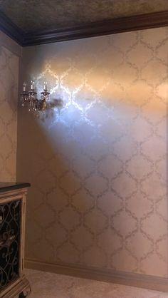 Small Acanthus Trellis on walls in room by Heidi Fox | Royal Design Studio