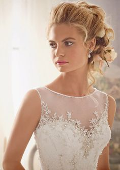 Mori Lee 2014 Fall Bridal Collection - covered sweetheart neckline wedding dress with a beautiful jeweled design on the chest