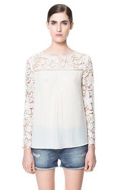 BLUSA COMBINADA CROCHET - Camisas - Mujer - ZARA España
