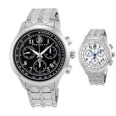 Brooklyn Prince Swiss Quartz Chronograph Black/Silver Dial Mens Watch