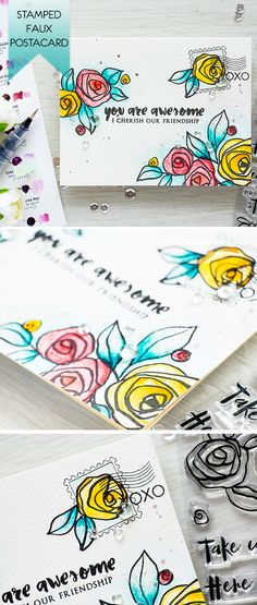 Use Altenew Bamboo Rose & Happy Mail stamp sets to create beautiful faux postcard type cards. For details, visit http://www.yanasmakula.com/?p=54512